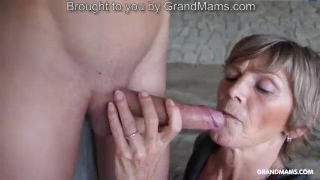 Concupiscent tattooed grandma taped up her toyboy