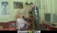 Hungry large love melons grandma swallows his large ramrod previous to banging