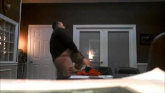 Boss blows a load in employees throat hidden webcam