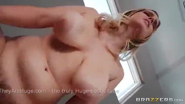 Cute white beauty with fantastic large saggy boobs pumping aged man