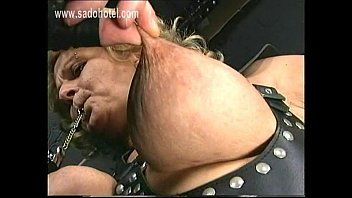 Bound villein with large titties got her teats twisted and metal clamps with enormous weight on em