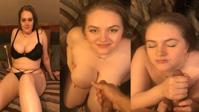 Yogurt queen acquires a biggest facial after milking out cum all over her own gorgeous face