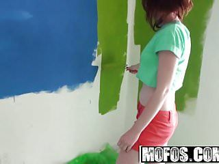Mofos - lets try anal - emma ohara - redhead boobs painting n