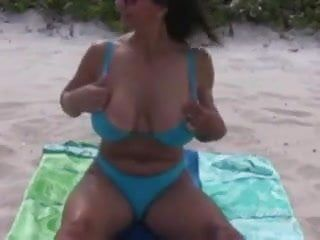 Breasty older mamma with awesome natural milk sacks nude at beach