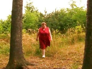 Bbw obese older granny with large bumpers stuffed in the forest